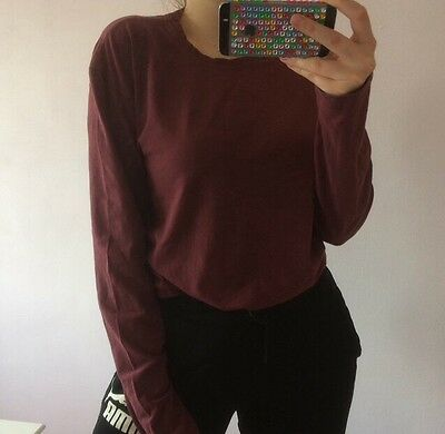 Vintage Long Sleeve T Shirt Burgundy Red Calvin Klein Jeans XL