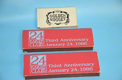 1986 Golden Nugget AC 24 Kt.Club  3rd.Anniversary Matches & 24Kt.Club Key Chain