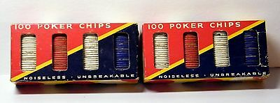 Vintage Dennison's 100 (x2) No 42 Poker Chips, Framingham, MA CASINO Game