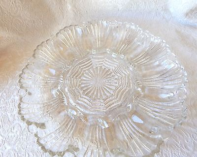 Vintage Clear Cut Glass Deviled Egg Dish - Holds 12 Eggs