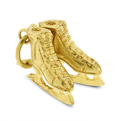 Vintage Ice & Figure Skates Shoes In Sold 14k Yellow Gold 2.5 Grams