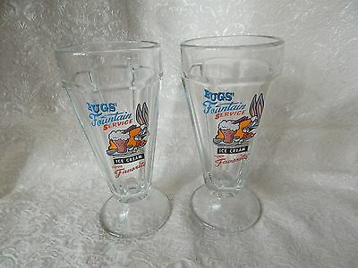 Looney Tunes Bugs Bunny Ice Cream Fountain Glass - 1996 - Set Of 2