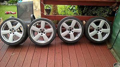 "4 X Audi  Alloy wheels and tyres 5 x100 18""  225/40/18  5 spoke - repainted"