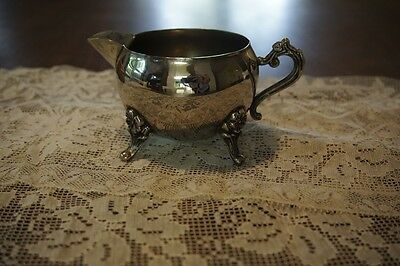 """vtg creamer cream pitcher silver plate small floral feet unmarked 2.5"""" Antique"""