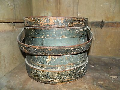 Primitive Antique Blue/green Firkin Bucket With Lid Original Paint Beautiful