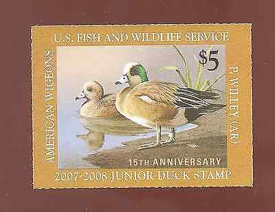 US MINT JUNIOR DUCK STAMP 2007-2008 15th ANNIVERSARY AMERICIAN WIGEONS