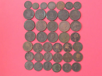 Collection Of 40 Old Copper/bronze Coins