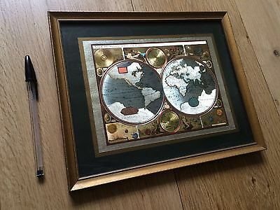 Old Picture Map Of The World Silver & Gold Framed