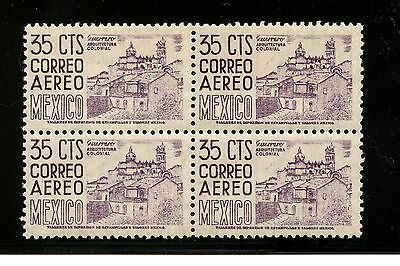"Mexico #C191 (ME296) Block of 4 ""retouched Die"" View of Taxco, MNH,FVF,CV$76.00"