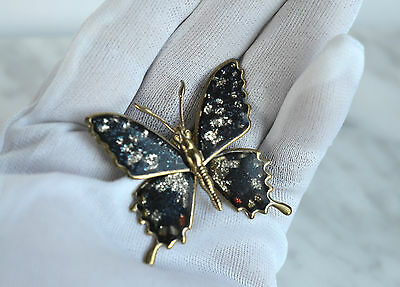 Vintage Tin Plate Gold Tone Flake Glitter BUTTERFLY Brooch Pin Retro