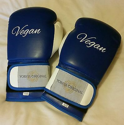 Blue & White VEGAN Artificial leather 12 ounce boxing gloves fitness box fit NEW