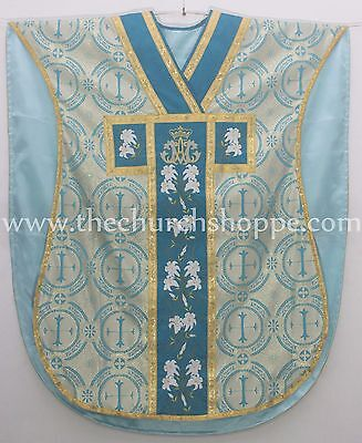 Marian Blue Chasuble. St. Philip Neri Style vestment Stole & mass set 5 pc, AM
