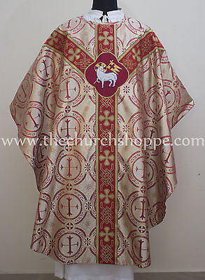 Metallic Red Agnus Dei vestment, stole & mass set ,Gothic chasuble,casula,casel
