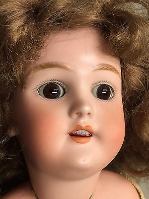 "Antique GERMAN 20"" HANDWERCK DOLL HEAD #119-10 1/4 x SLEEP EYES Featherlight VTG"
