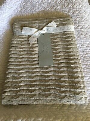 "PEACOCK ALLEY LUXURY BABY BLANKET 100%COTTON  NWT $95 Beige 30"" X 40"""