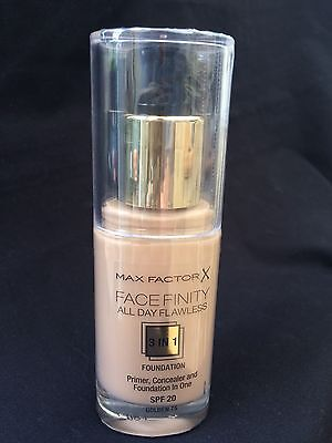 New & Sealed Max Factor Face Finity 3 In 1 Foundation In Golden 75 Spf20 30Ml