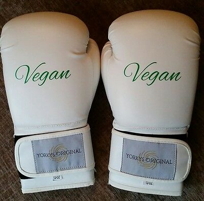 White VEGAN Artificial leather 12 ounce boxing gloves fitness box fit NEW