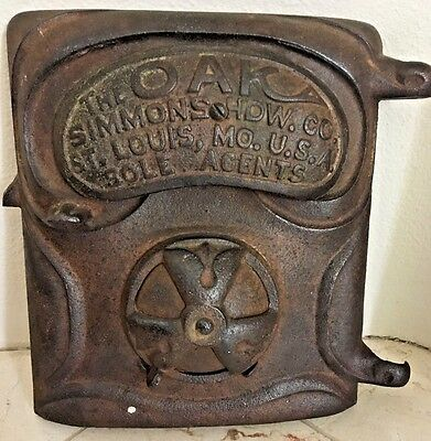 Vintage Antique Cast Iron Furnace Stove Door The Oak Simmons Hardware Company