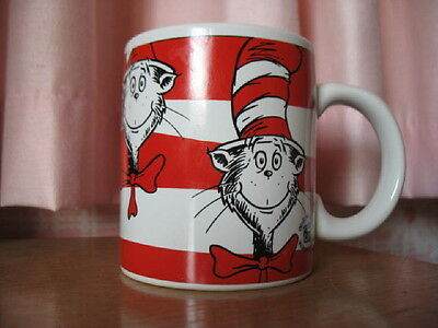"""Collectible red stripes straight sided """"CAT IN THE HAT"""" Dr. Seuss mug. Excellent"""