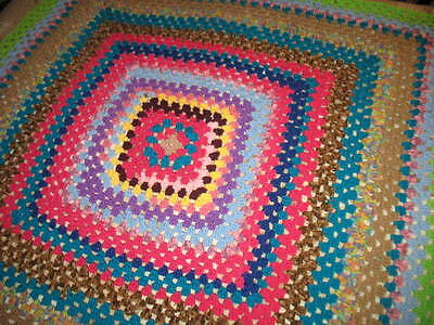 """Hand crocheted Afghan Blanket Bed Throw, crocheted - 52""""x 52"""" - AS NEW - 15% OFF"""
