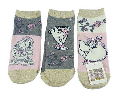 Disney Ladies Socks Mrs.potts , Size 4-8 Eur.37 -42 3-Pack Beauty And The Beast