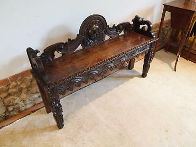 Settle bench pew window or hall seat Victorian Carved Oak c1880