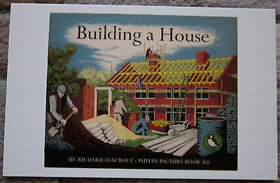 Puffin Book  POSTCARD  Book Front Cover   Building A House 1949  Picture Book 60