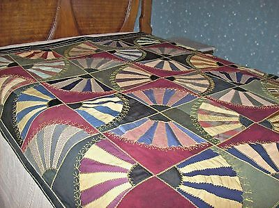 Antique FAN CRAZY QUILT From POLLY JUDD RIDEOUT Mother of NAOMI JUDD Sale EUC