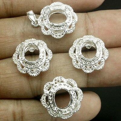 Princess! Setting Real Sterling Silver 925 Set Main Stone 10 X 8 Mm. Size 6