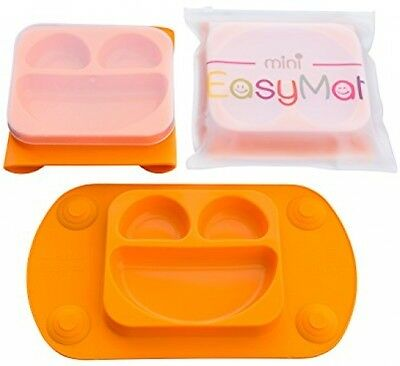 Highchair Feeding Mat Mini EasyMat Home Travel Baby Suction Plate Silicone Lid