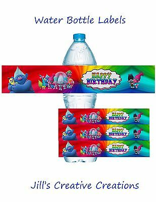Trolls, Trolls water bottle labels, Birthday, Water Bottle Labels