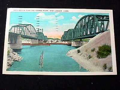 1940 Twin Bridge Over The Thames River, New London, Connecticut Postcard