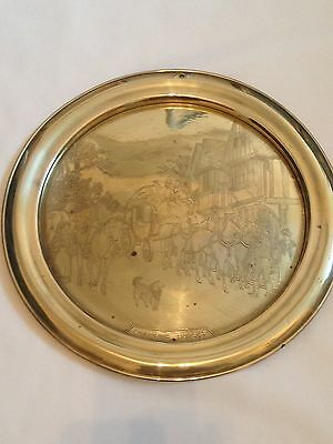 """Vintage Brass Wall Plate """"Changing Horses"""" Metalware"""