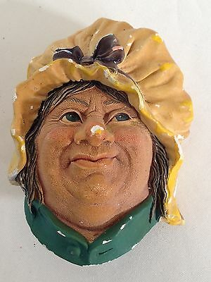 """Vintage Bossons Wall Plaque Figure Heads """"Sarah Gamp"""" 1964"""