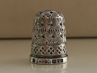 Antique Silver Thimble Hallmarked Chester 1902 Maker G.W. Harvey & Co
