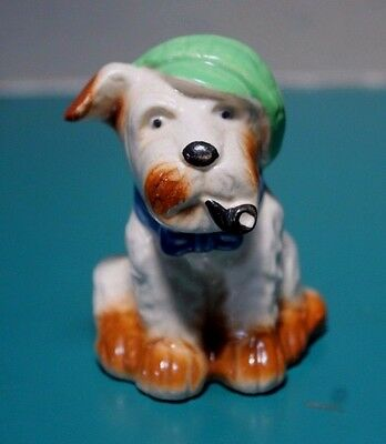 VTG Made in Occupied Japan Scottie Dog Green Cap Blue Bow Tie Smoking a Pipe