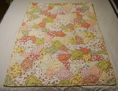 Land of Nod patchwork crib quilt pink yellow green calico floral super cute EUC
