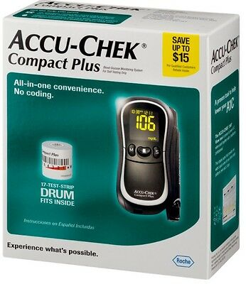 NEW ACCU-CHEK Complete Plus Blood Glucose Monitoring System + 17 Test Strips