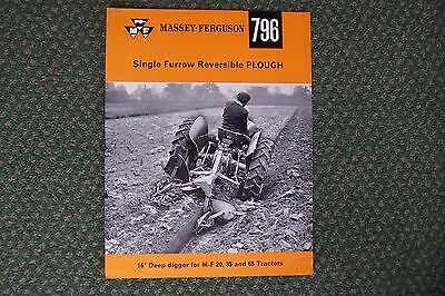 Massey Ferguson 796 Single Furrow Reversible Plough Sales Brochure