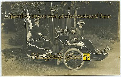 Motor Tricar George V Coronation 1911. Rppc: Royal Town Studio Sutton Coldfield