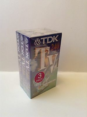TDK TV-240 Blank 3 Pack Video Tapes VHS Free Postage UK!! New!!