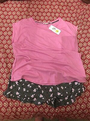 Ladies Pink Floral Short Pyjamas - Marks And Spencer's - Size 16
