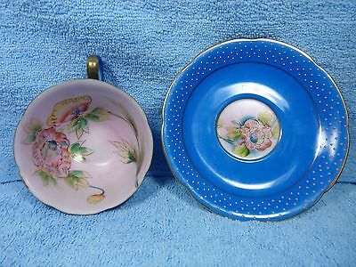 Vintage Merit Cup and Saucer Blue Pink Polka Dots Hand Painted