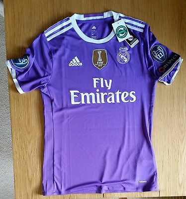 Real Madrid 2016 17 Away Purple shirt jersey Large Fits like tight Medium!