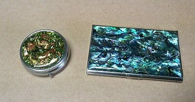 Round Metal Trinket Pill Box Abalone Type Finish and Business Card Case
