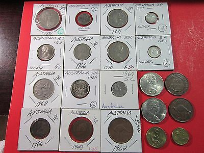 Australia. Vintage Lot Of 20 Australian Coins. Circulated To Uncirculated.