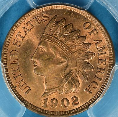 1902 Indian Head Cent PCGS MS64RB- Mostly Red, Sharp Example