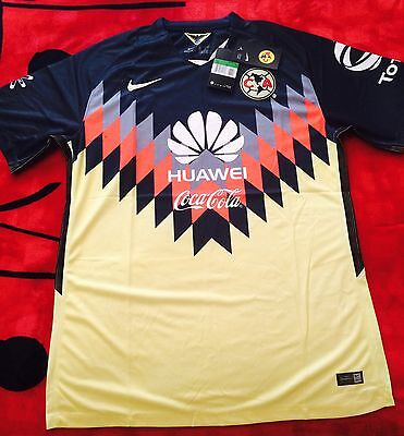Club America Men's Soccer Jersey 17/18 Color Blue/yellow Mexico League 🇲🇽