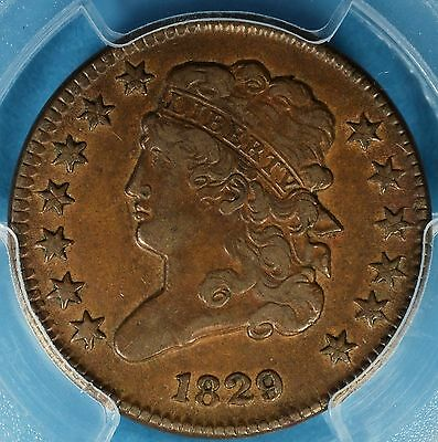 1829 Classic Head Half Cent PCGS VF35- Sharp Obverse, Nice Looking Example