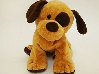 Ty Pluffies Barkers Brown + Tan Puppy Dog Plush Tylux 2015 MWOT Bead Eyes